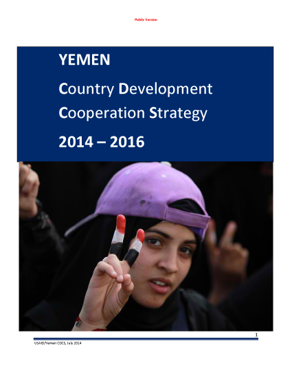 Yemen Country Development Cooperation Strategy 2014 – 2016