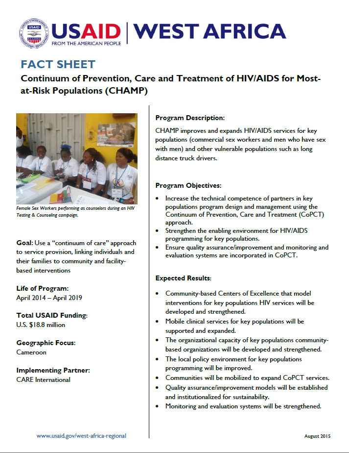 Fact Sheet on Continuum of Prevention, Care and Treatment of HIV/AIDS for Most-at-Risk Populations (CHAMP)