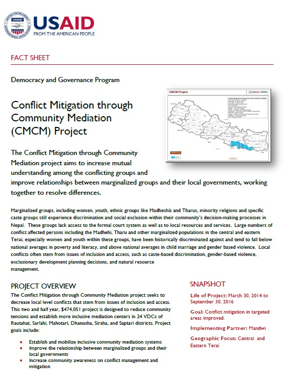 Conflict Mitigation through Community Mediation (CMCM) Project