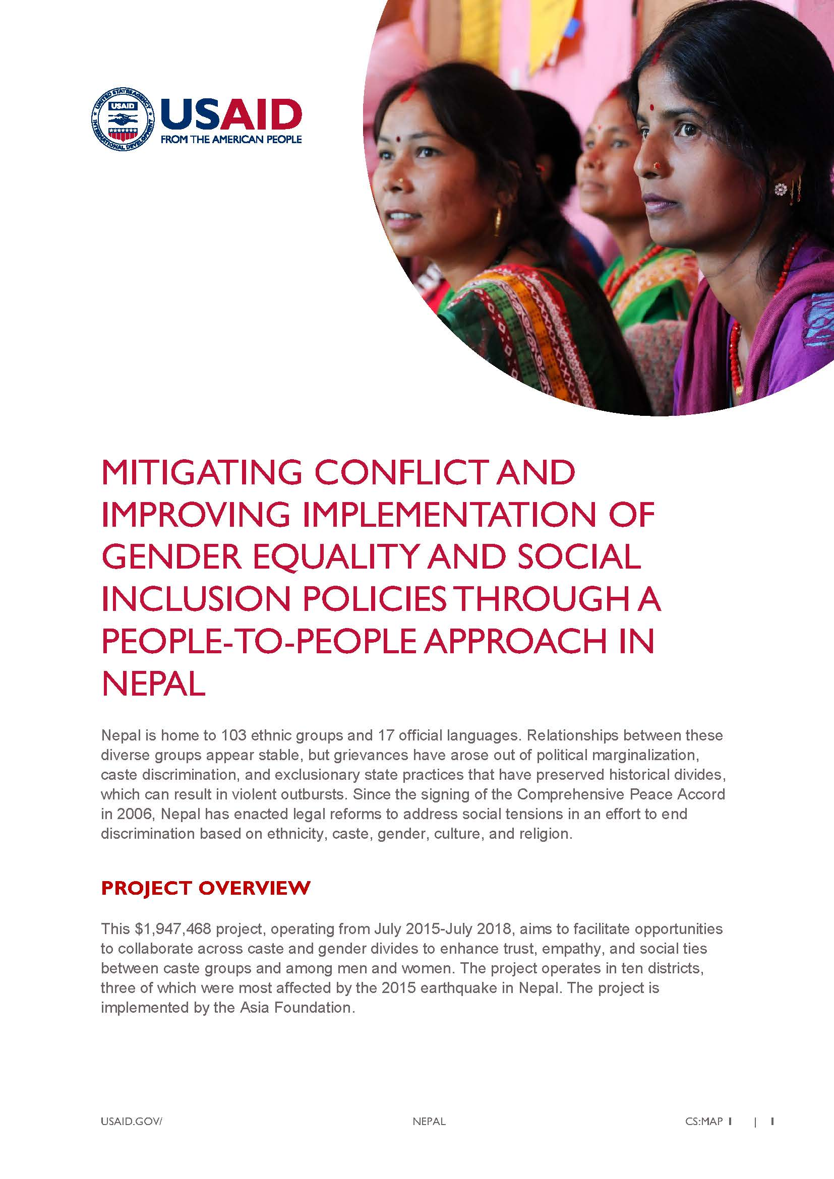 Fact Sheet: Mitigating Conflict and Improving Implementation of Gender Equality and Social Inclusion Policies Through a People-t