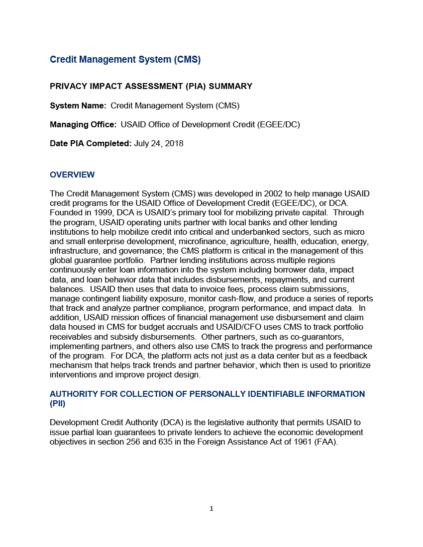 Credit Management System (CMS) Privacy Impact Assessment Summary
