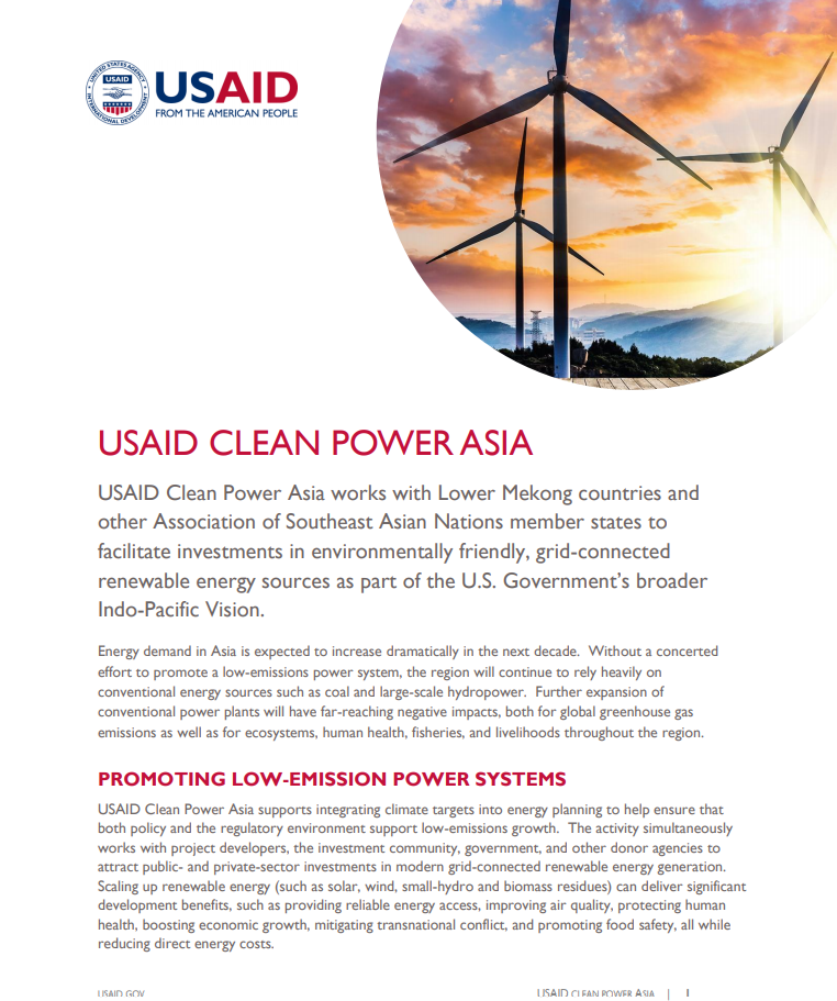 USAID Clean Power Asia Fact Sheet
