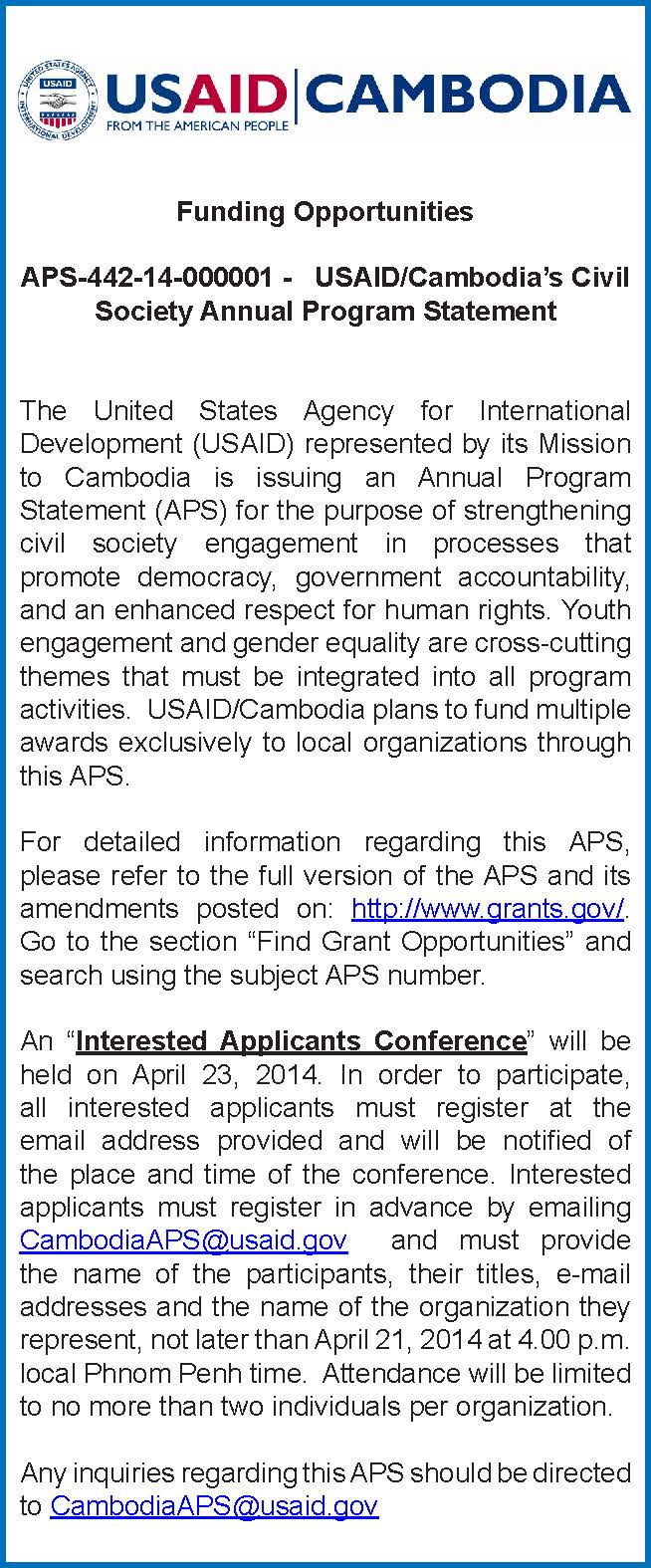 USAID/Cambodia's Civil  Society Annual Program Statement