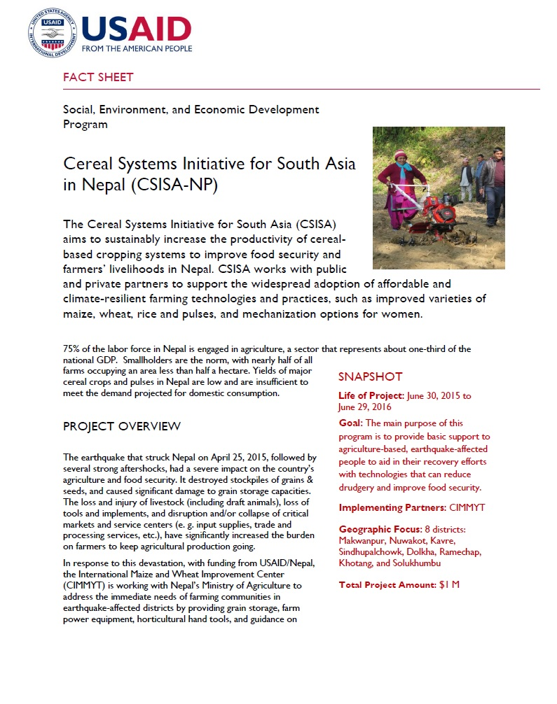 Cereal Systems Initiative for South Asia Nepal (CSISA-NP)