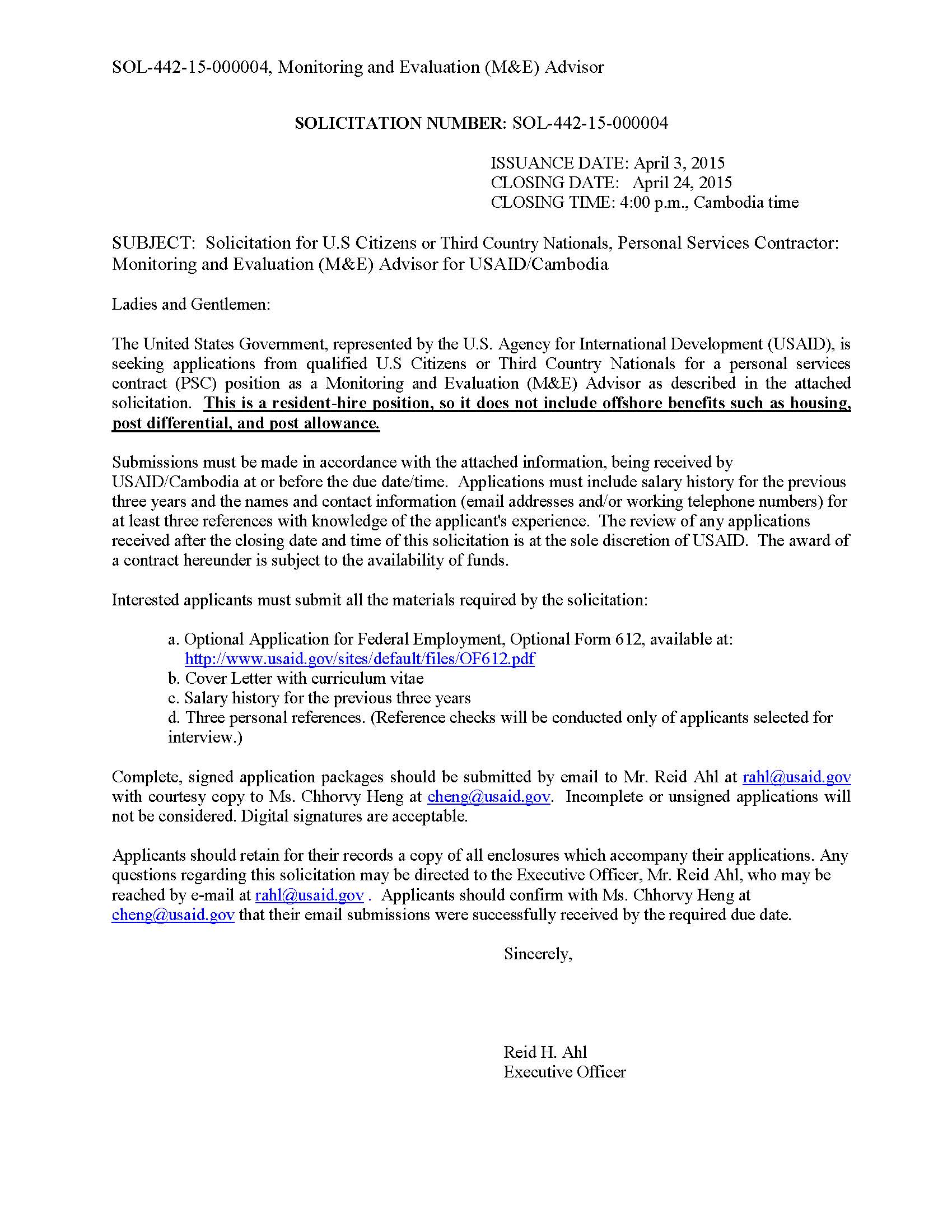Sample Cover Letter Usaid  Fast Online Help