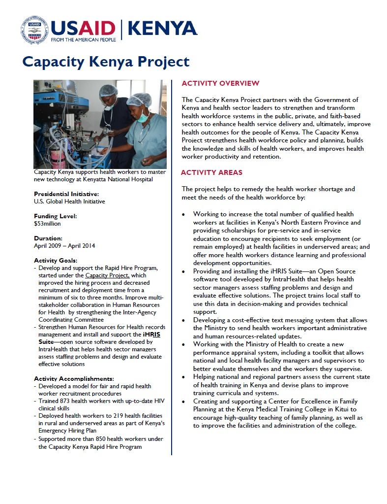 Capacity Kenya Fact Sheet_February 2014