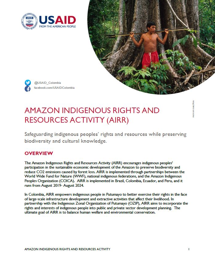 The Amazon Indigenous Rights and Resources Activity (AIRR) Fact Sheet