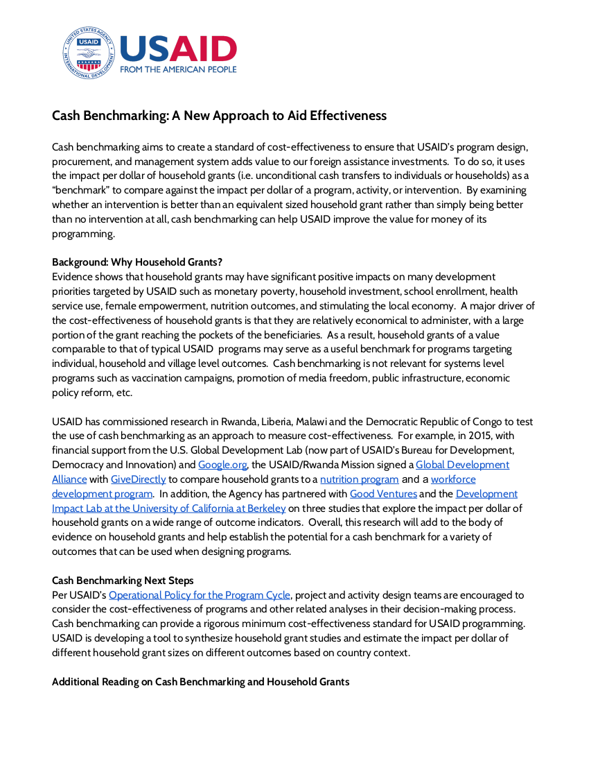 Cash Benchmarking: A New Approach to Aid Effectiveness