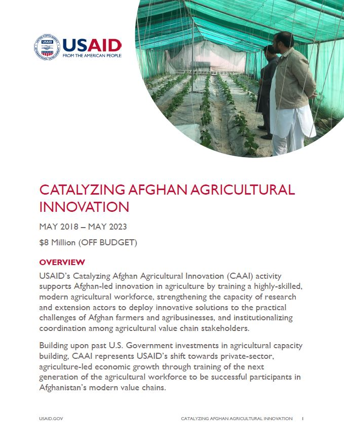 Catalyzing Afghan Agricultural Innovation