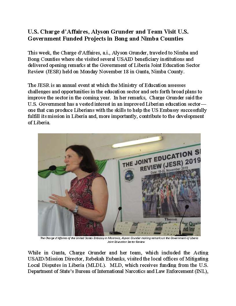 U.S. Charge d'Affaires, Alyson Grunder and Team Visit U.S. Government Funded Projects in Bong and Nimba Counties