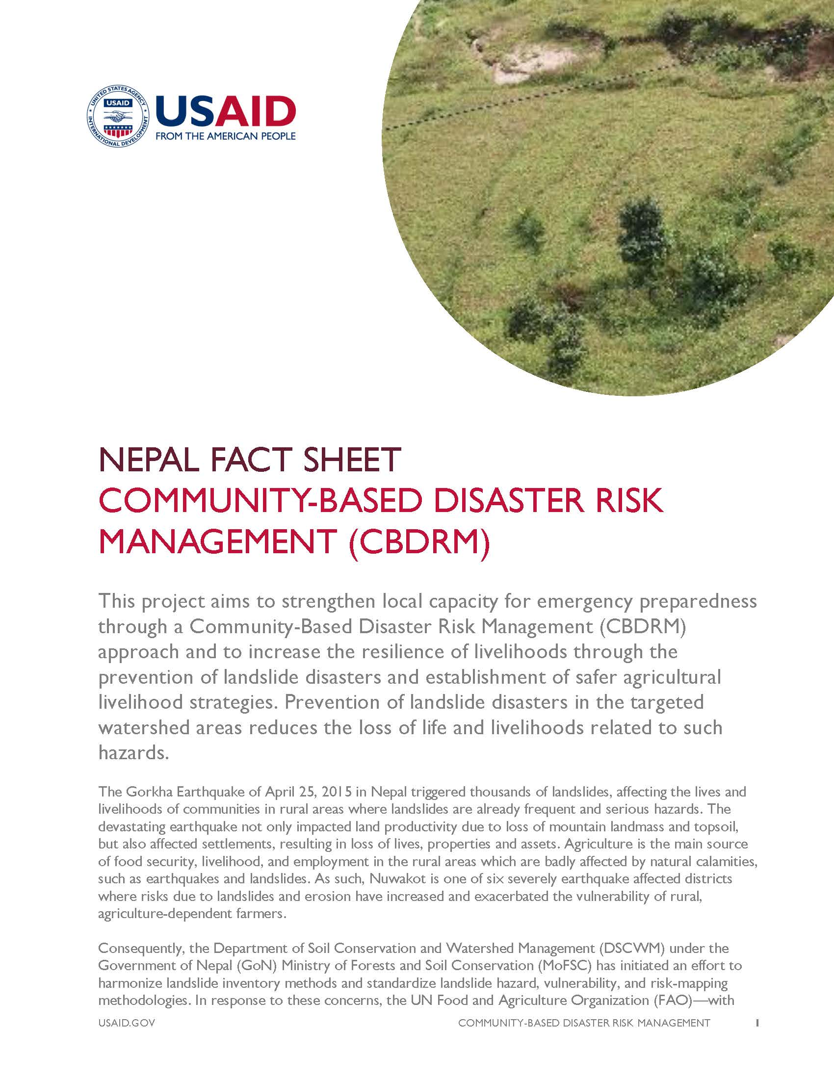 Fact Sheet:COMMUNITY-BASED DISASTER RISK MANAGEMENT (CBDRM)
