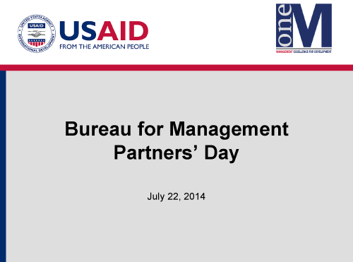 Management Bureau Partners Day Presentation