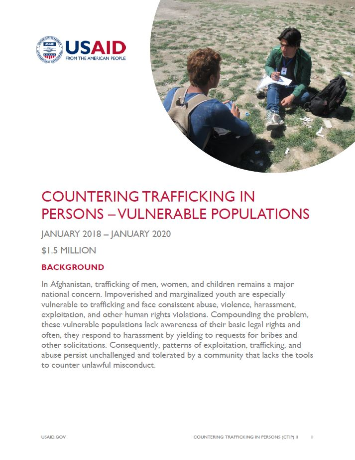 Countering Trafficking in Persons – Vulnerable Populations
