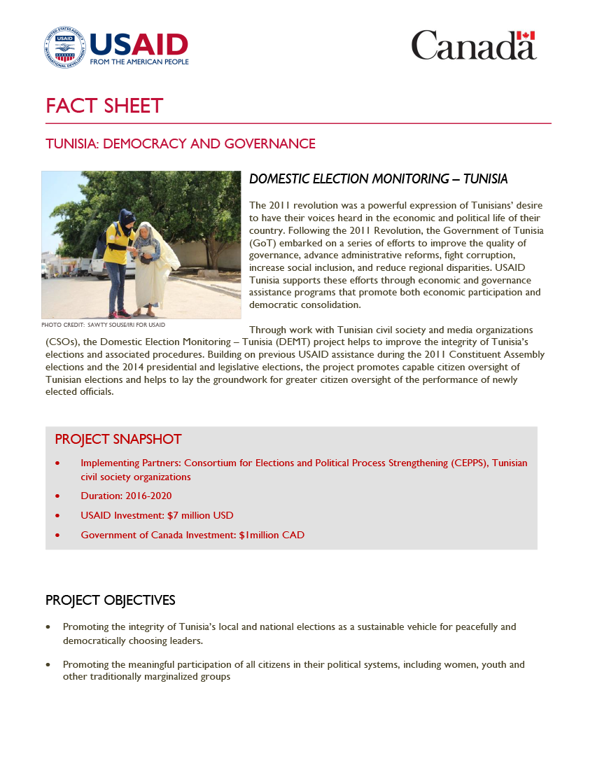 Domestic Election Monitoring – Tunisia (DEMT) Fact Sheet - Click to download PDF