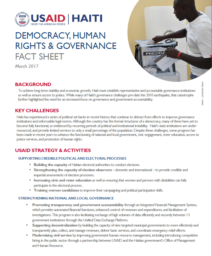 Democracy, Human Rights & Governance Fact Sheet (2017)