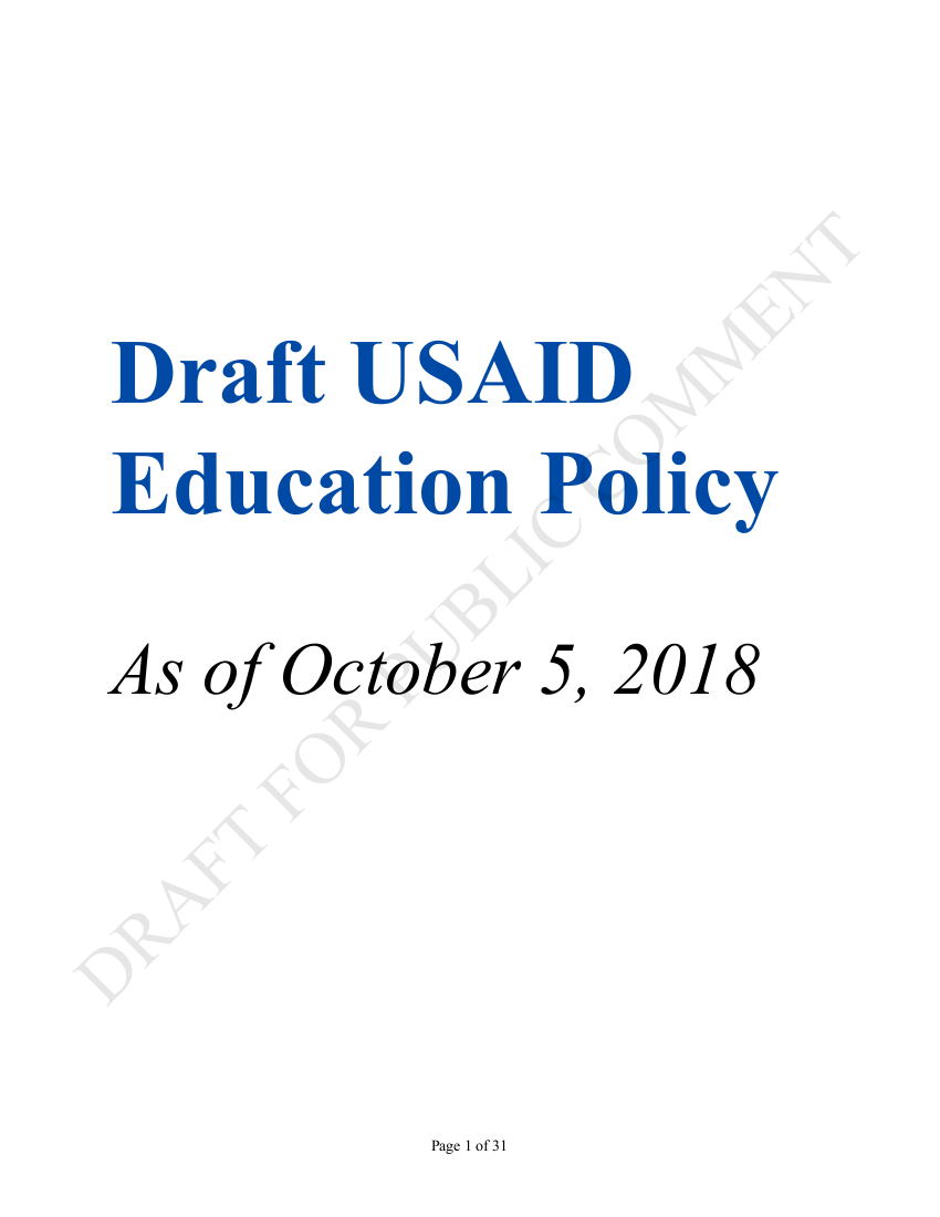 Draft Usaid Education Policy Us Agency For International Development