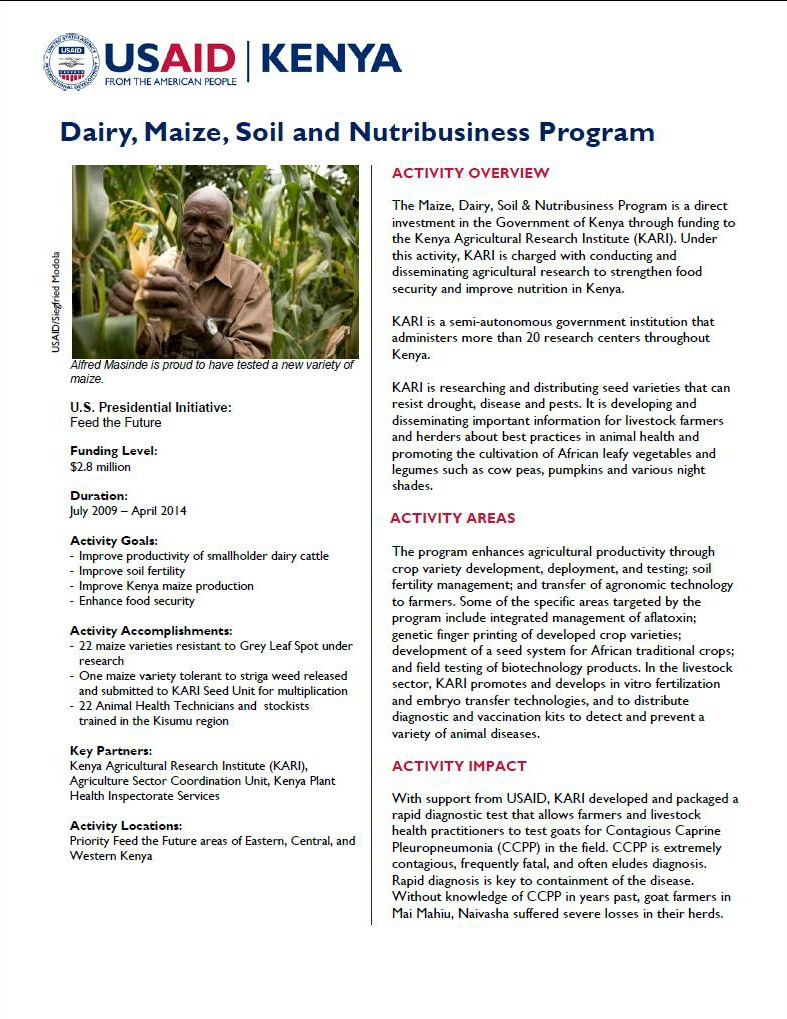 Dairy, Maize, Soil and Nutribusiness Program Fact Sheet_January 2014