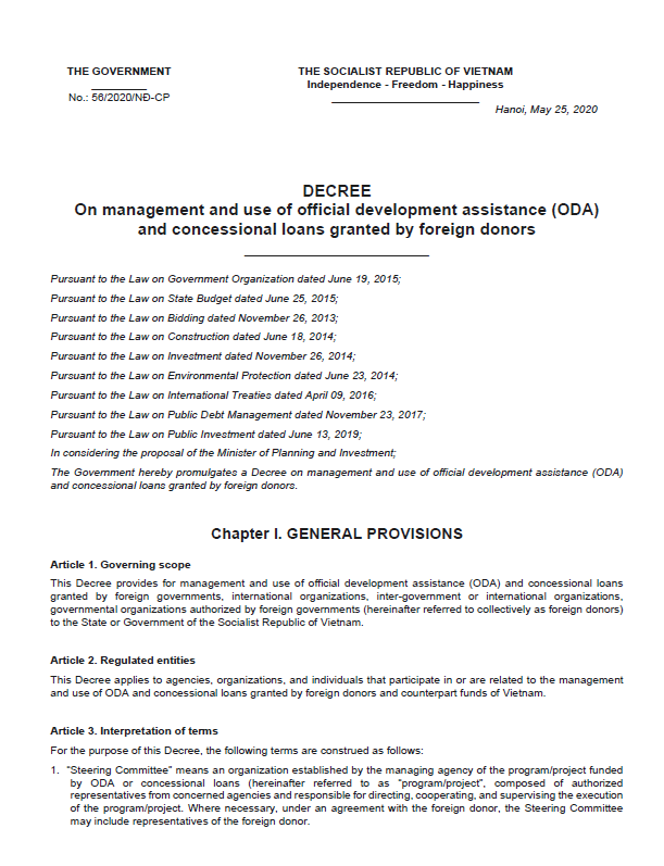 Decree on management and use of official development assistance (ODA) and concessional loans granted by foreign donors.