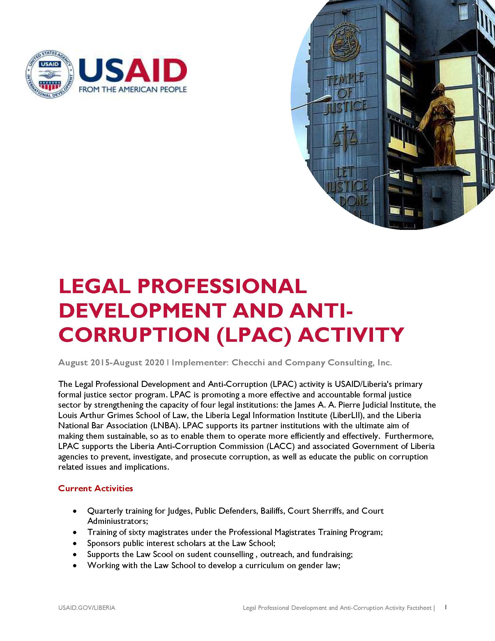 Legal Professional Development and Anti-Corruption Activity
