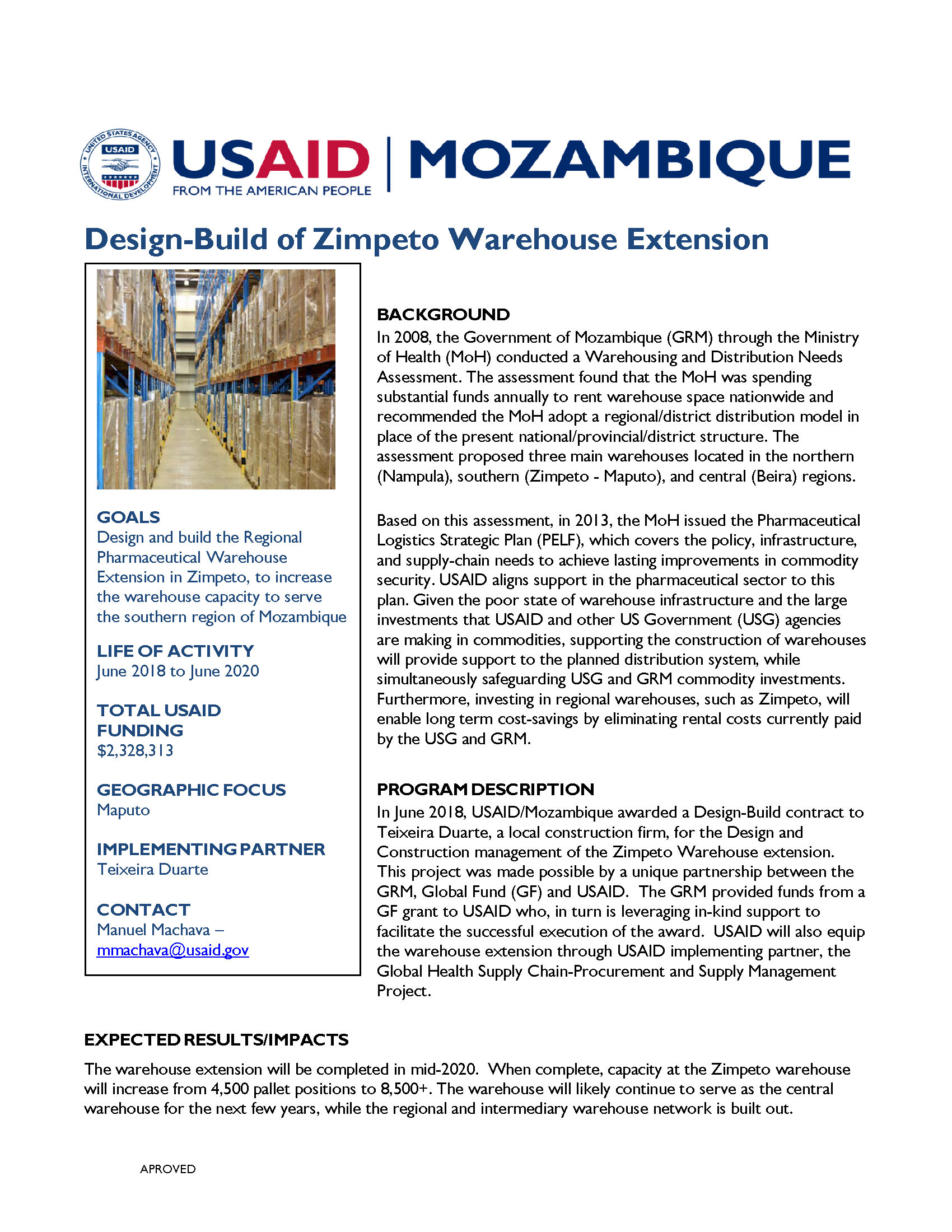 Design-Build of Zimpeto Warehouse Extension Fact Sheet