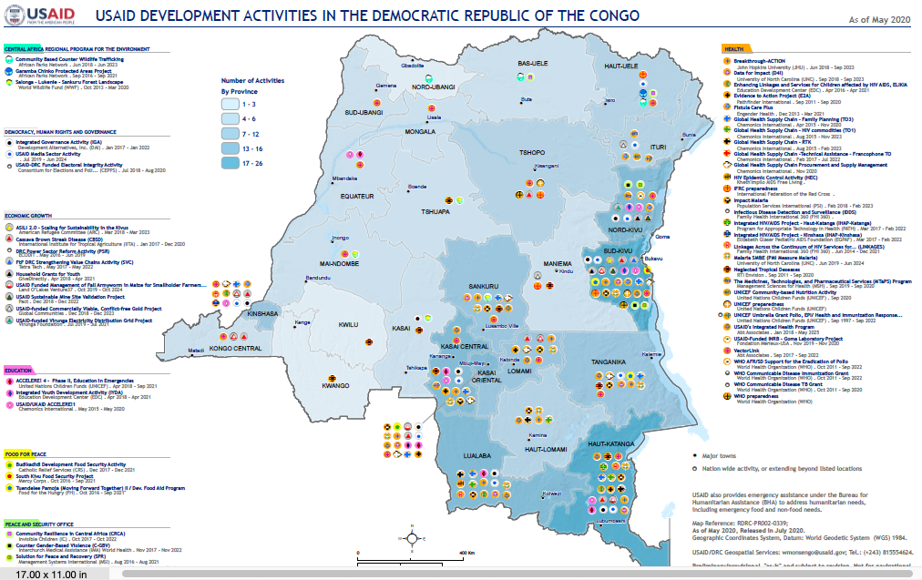 USAID Development Activity Map in DRC