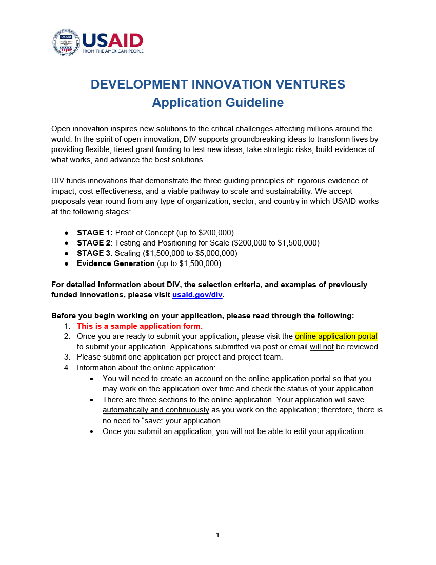 How To Apply Development Innovation Ventures U S