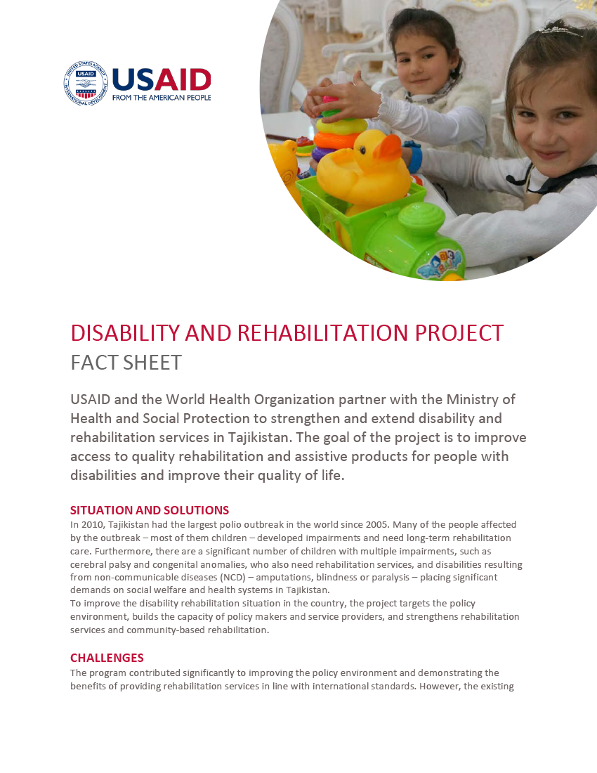 Disability and Rehabilitation Project Fact Sheet