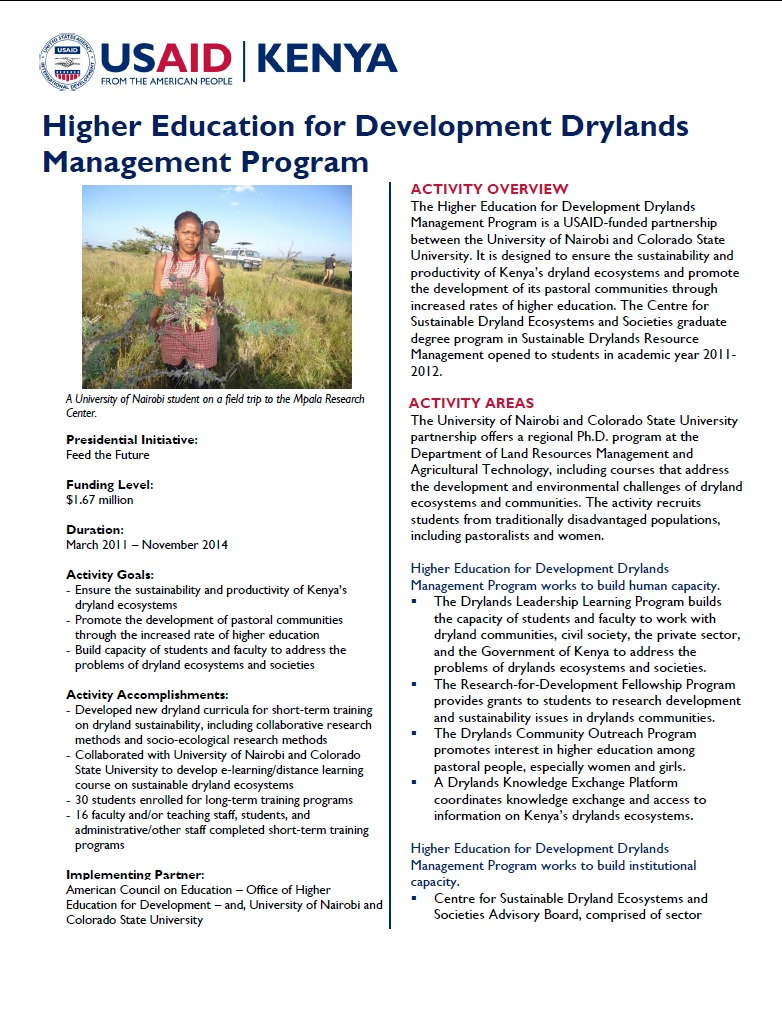 Higher Education for Development Drylands Management Program Fact Sheet September 2014