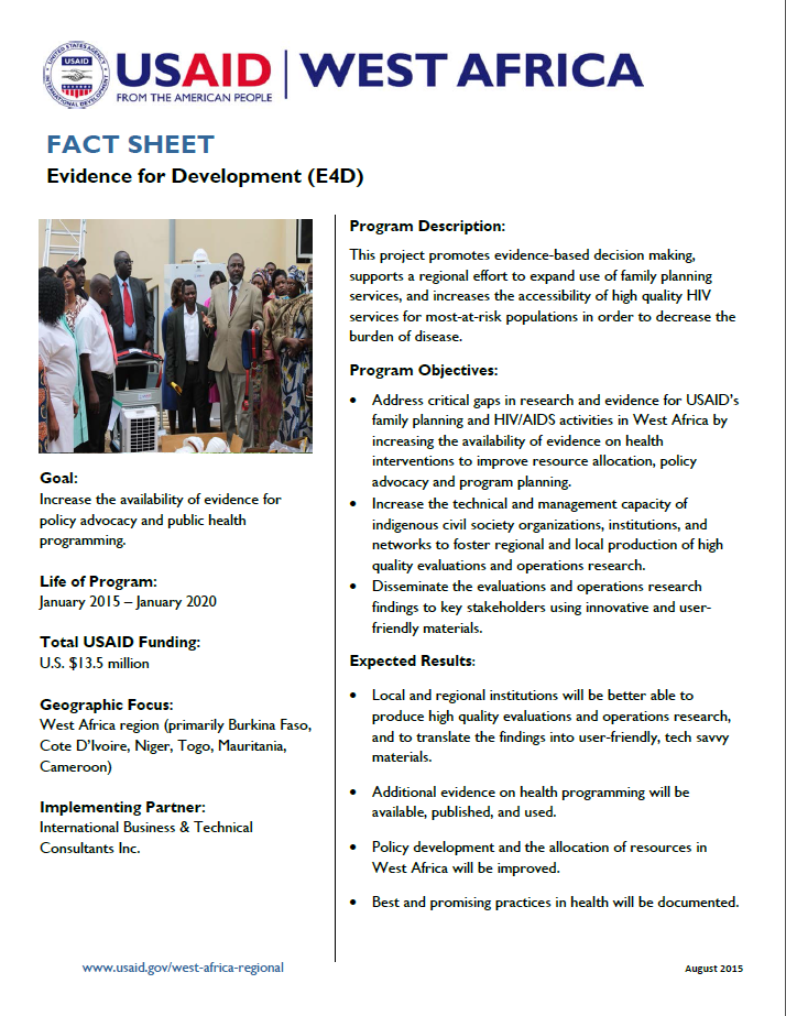 Fact Sheet on Evidence for Development (E4D)