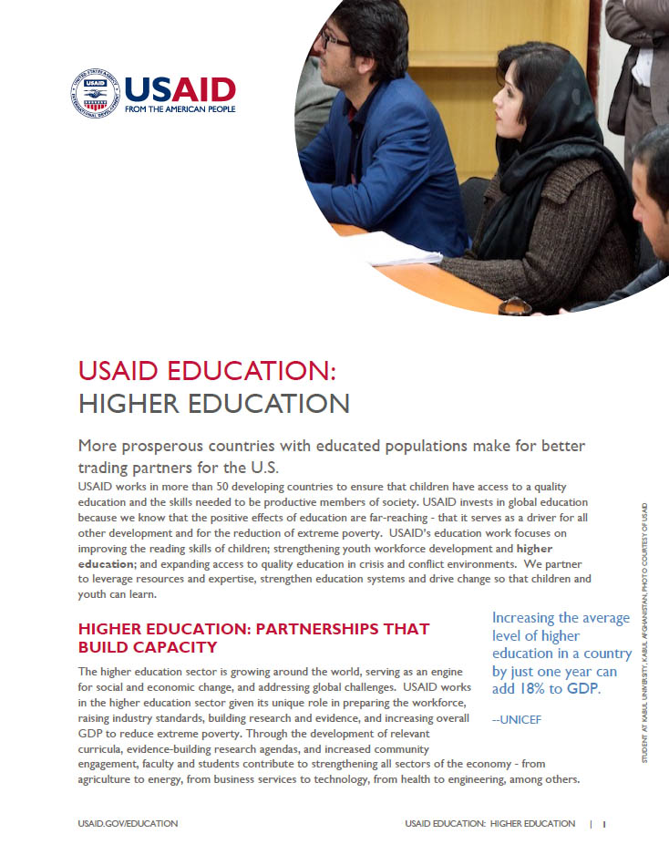 USAID Education: Higher Education Fact Sheet