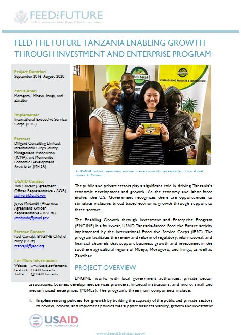 Feed the Future Tanzania Enabling Growth through Investment and Enterprise (ENGINE) Program Fact Sheet