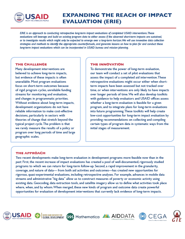 Expanding the Reach of Impact Evaluation (ERIE) Fact Sheet