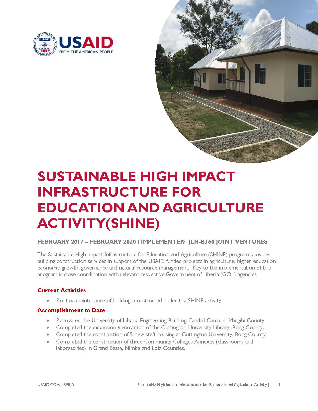 Sustainable High Impact Infrastructure for Education and Agriculture Activity