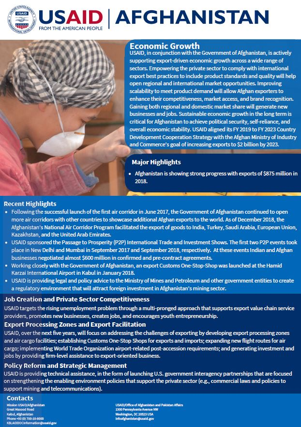 USAID Afghanistan Economic Growth Fact Sheet