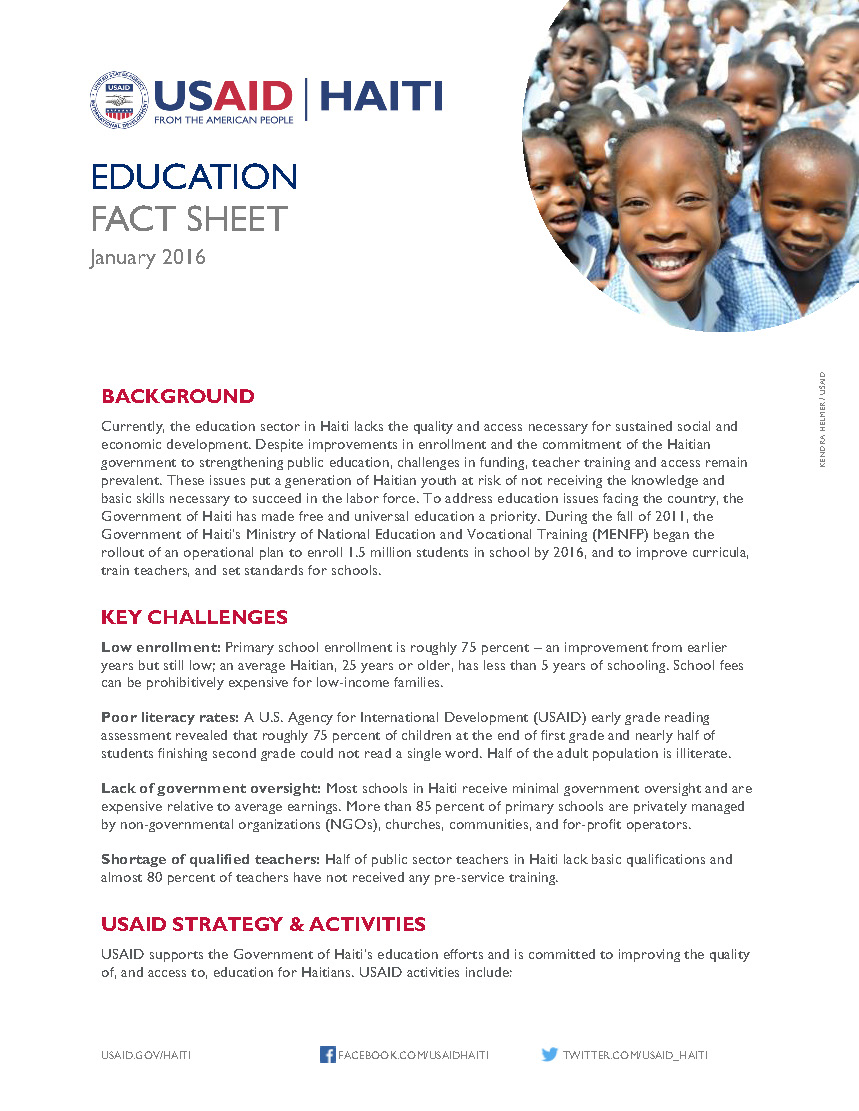 Haiti Education Fact Sheet (2016)