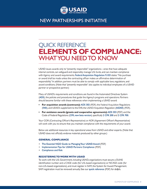 Elements of  Compliance Quick Reference Guide