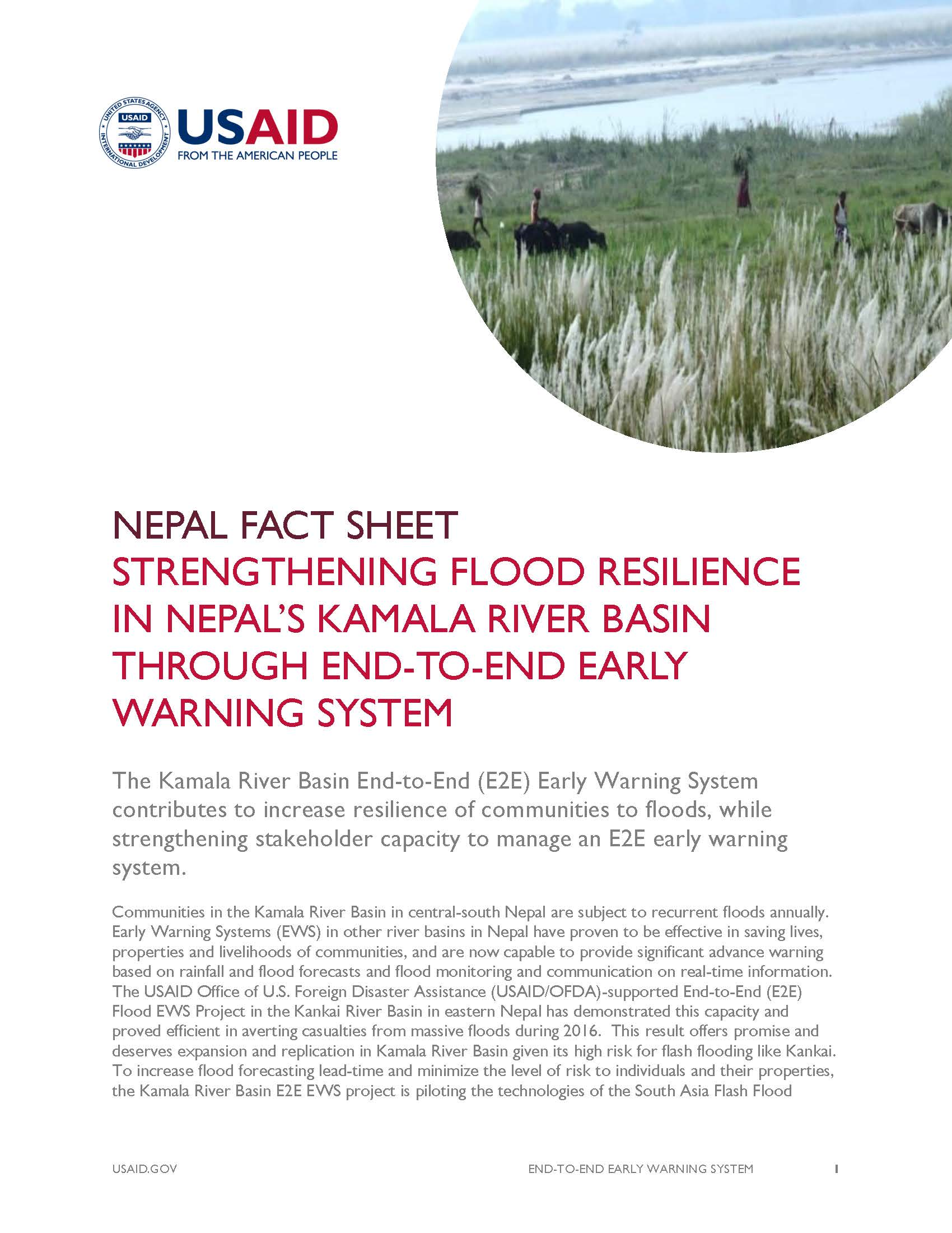 Fact Sheet: STRENGTHENING FLOOD RESILIENCE IN NEPAL'S KAMALA RIVER BASIN THROUGH END-TO-END EARLY WARNING SYSTEM