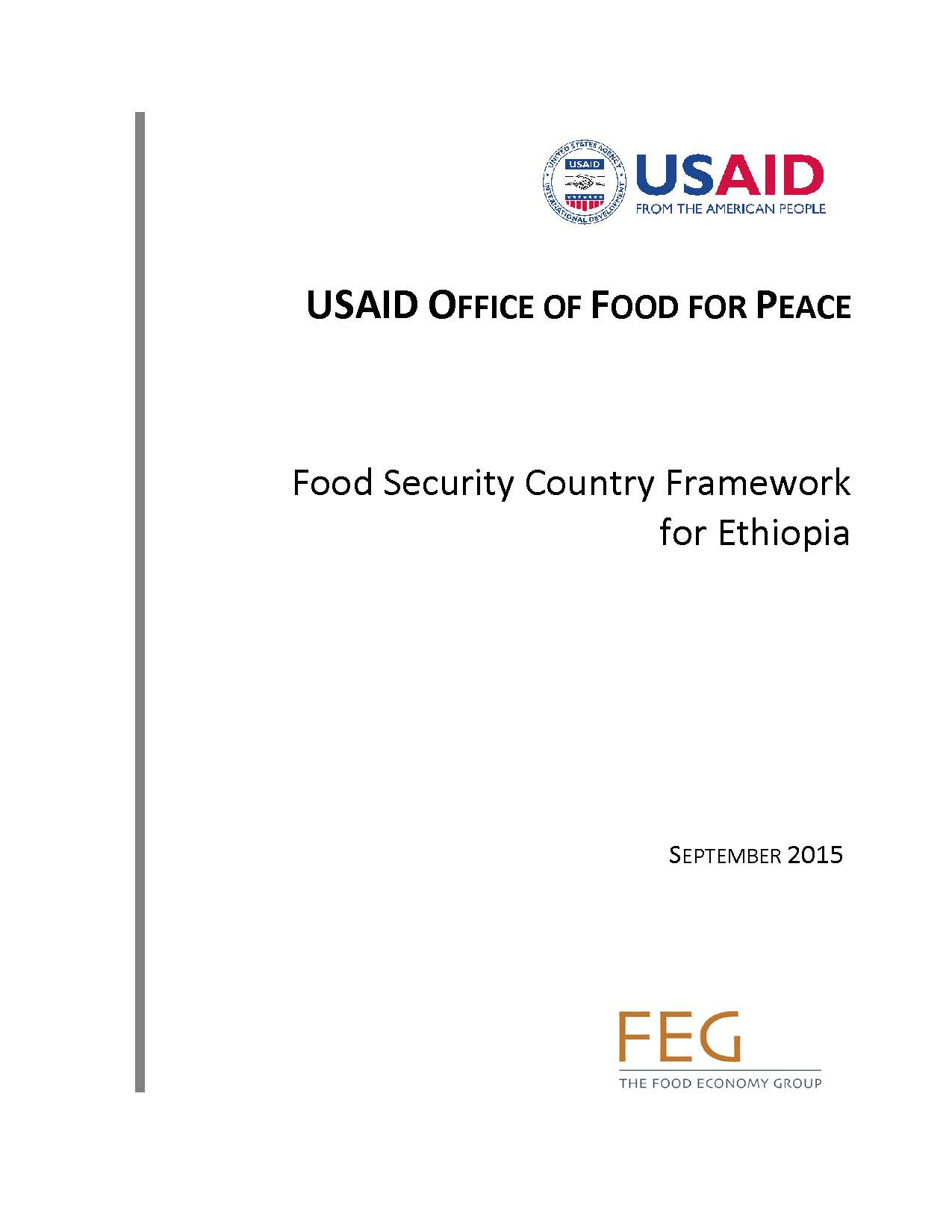 Food Security Country Framework for Ethiopia