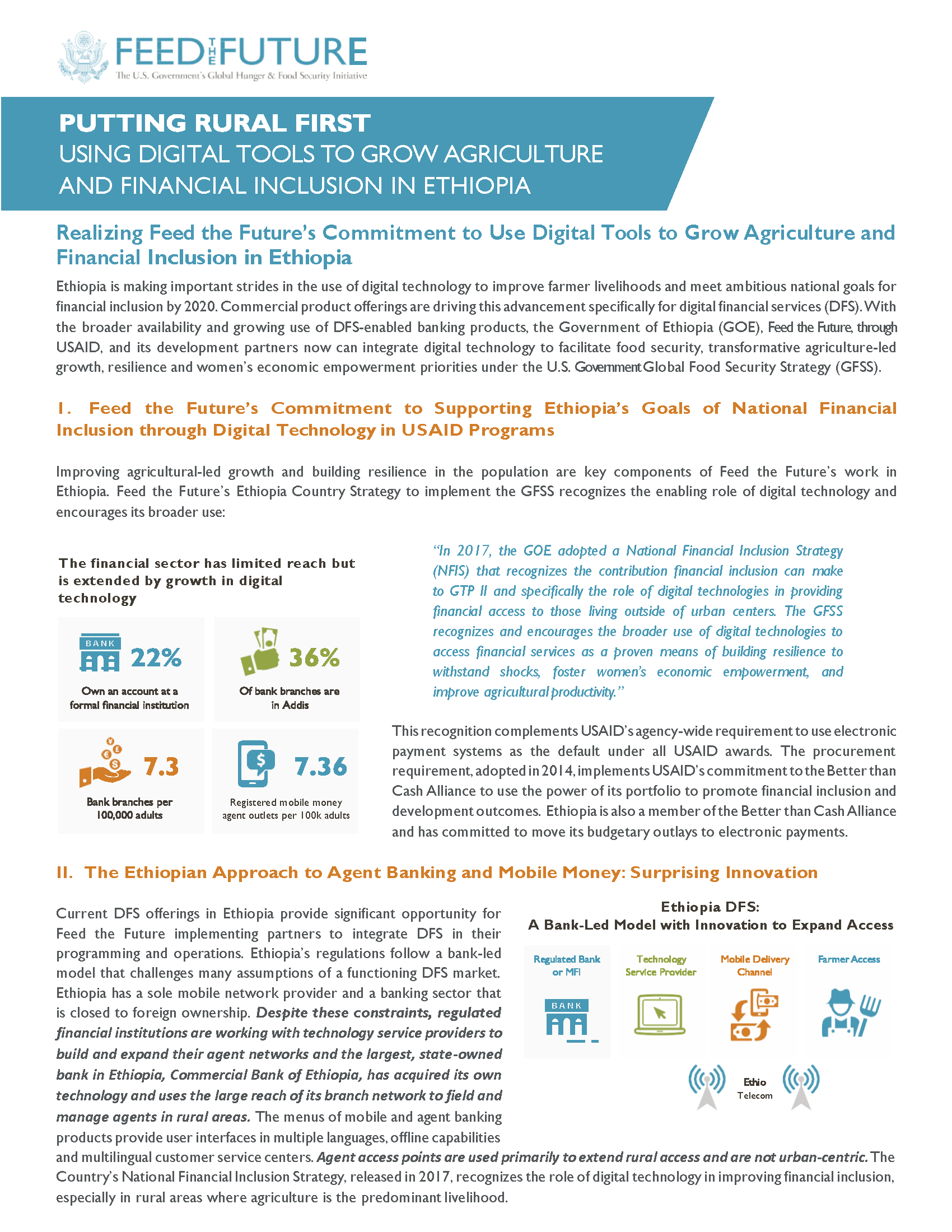 Fact Sheet: Using Digital Tools to Grow Agriculture and Financial Inclusion in Ethiopia