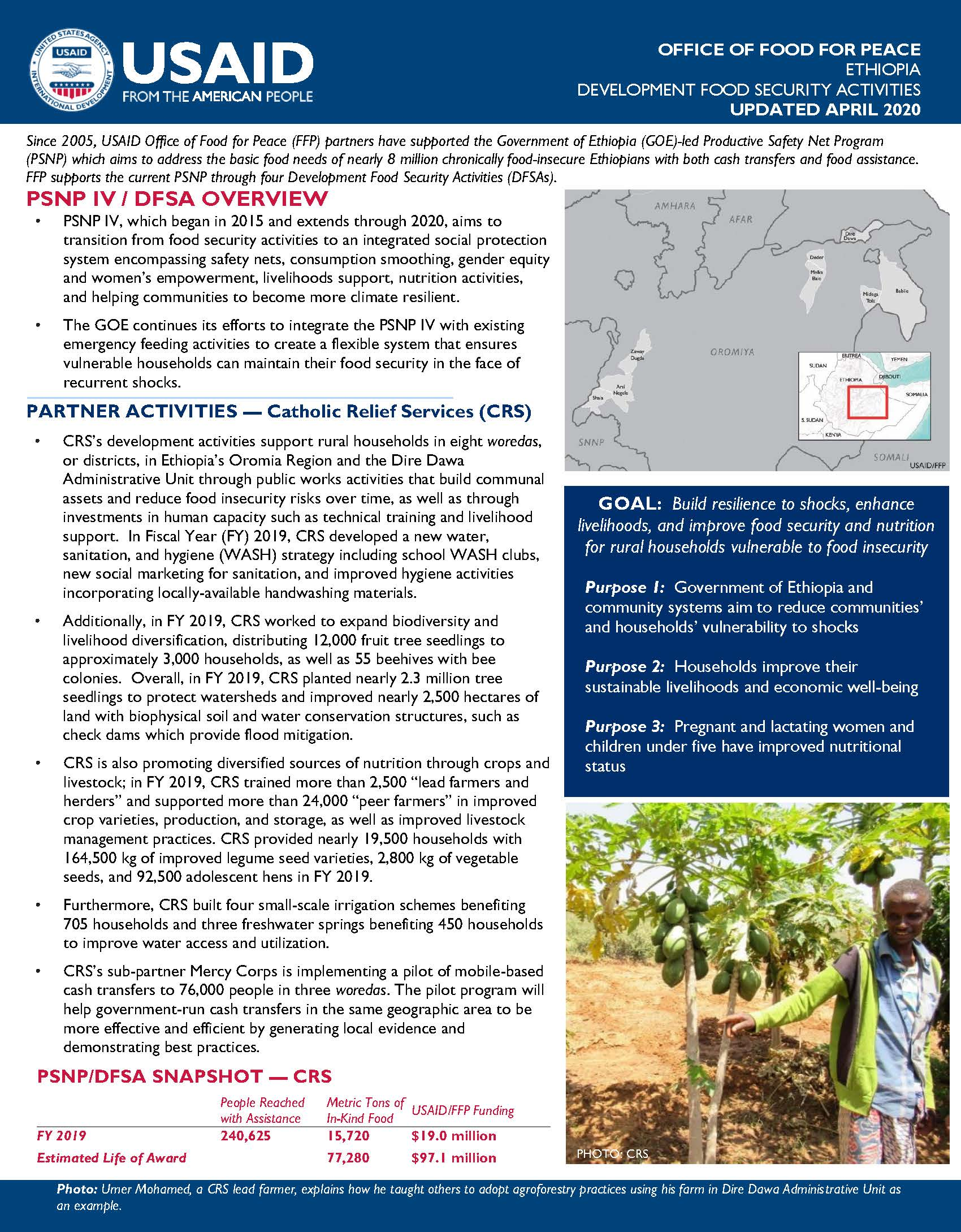 FY 2019 Ethiopia DFSA Fact Sheet - Catholic Relief Services