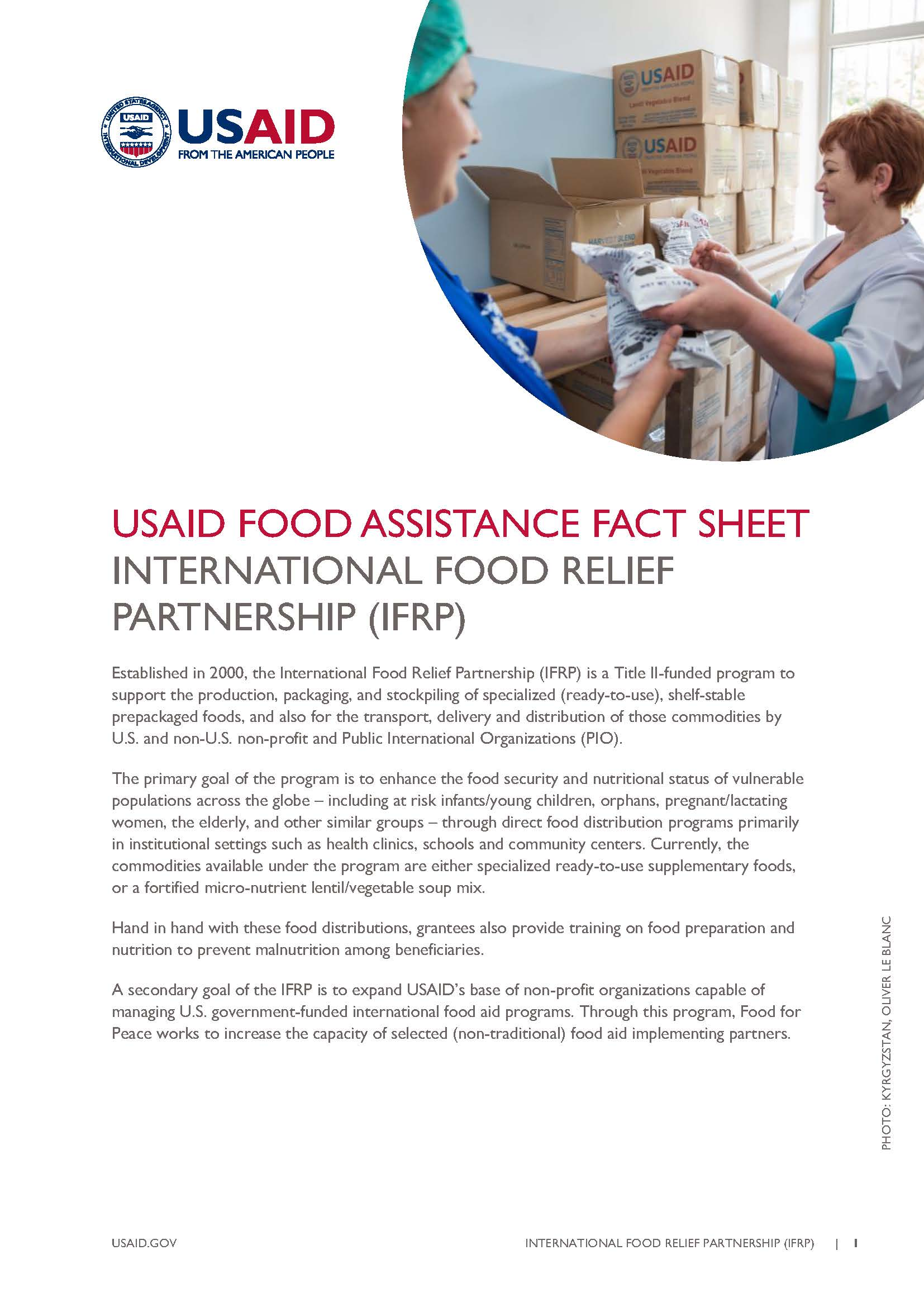 FFP Fact Sheet on International Food Relief Partnership (IFRP)
