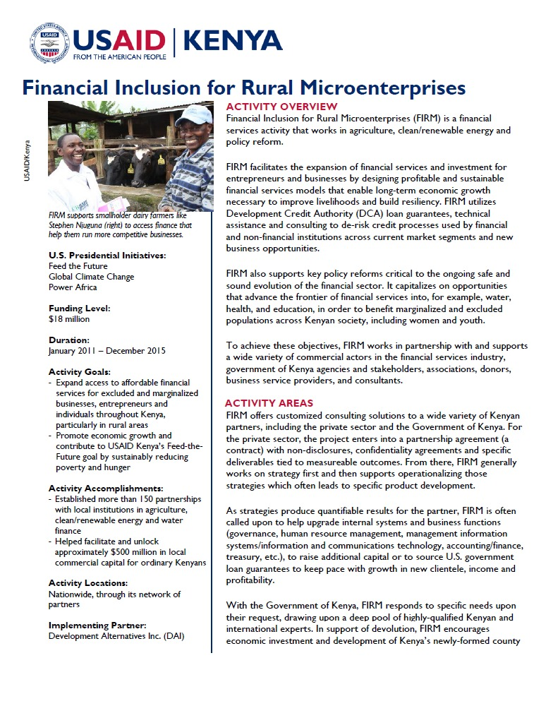 Financial Inclusion for Rural Microenterprises Fact Sheet_August 2014