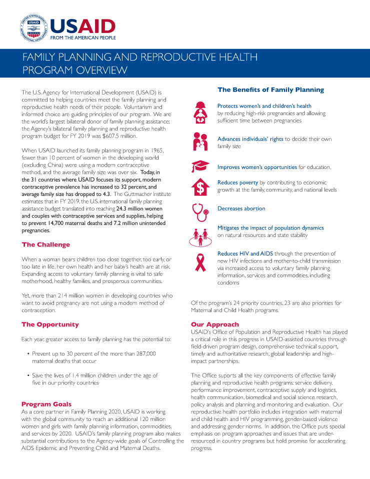 Family Planning and Reproductive Health Program Overview
