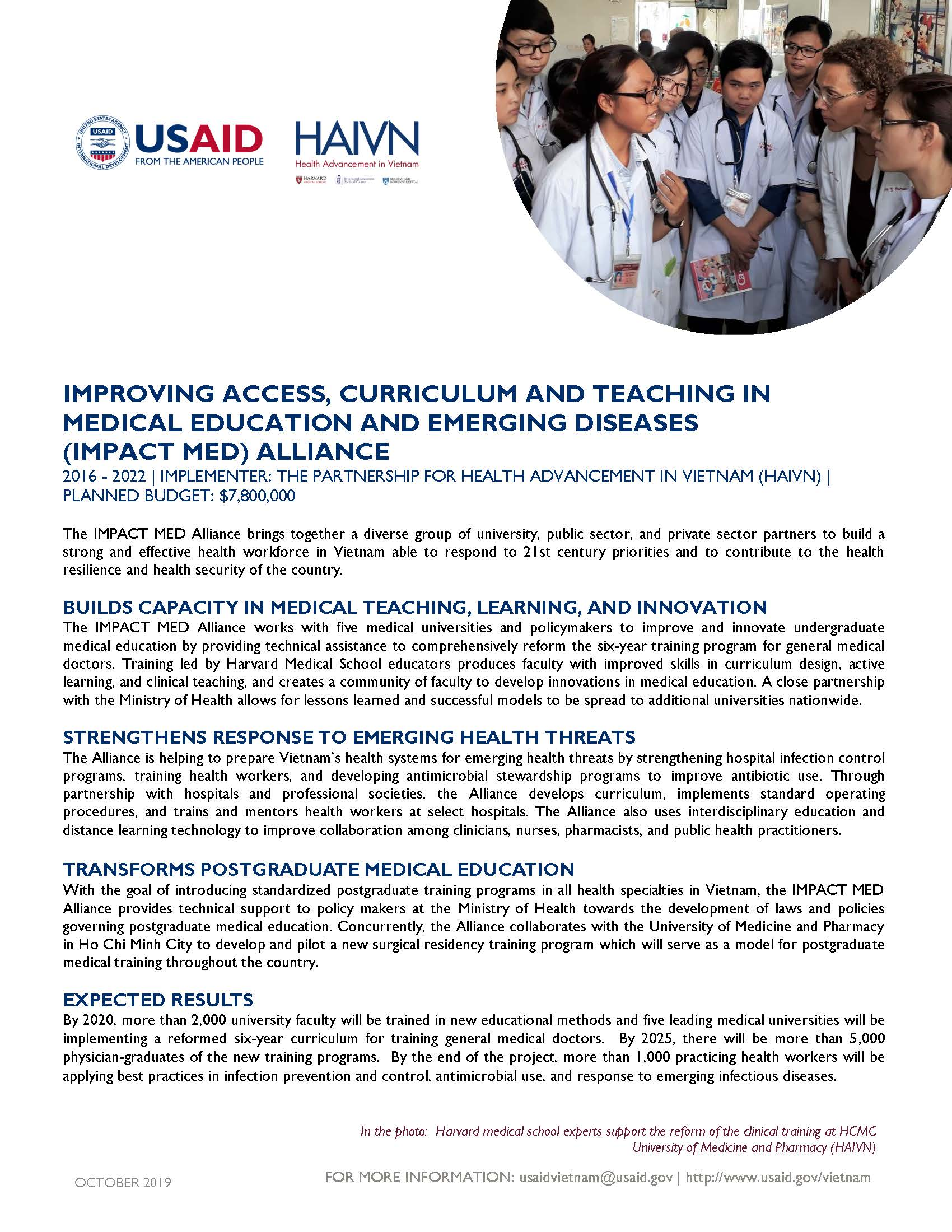 Fact Sheet: Improving Access, Curriculum and Teaching in Medical Education and Emerging Diseases (IMPACT MED) Alliance