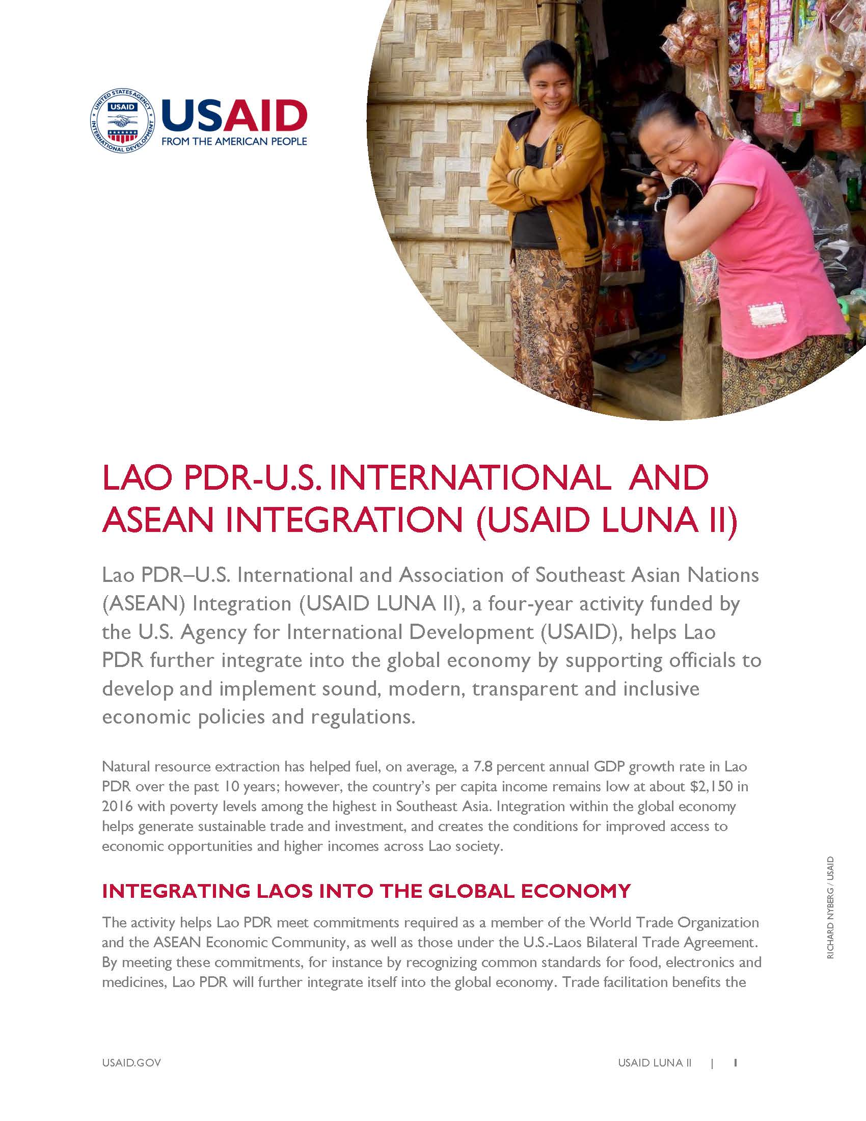 Lao PDR-U.S. International and Association of Southeast Asian Nations  Integration