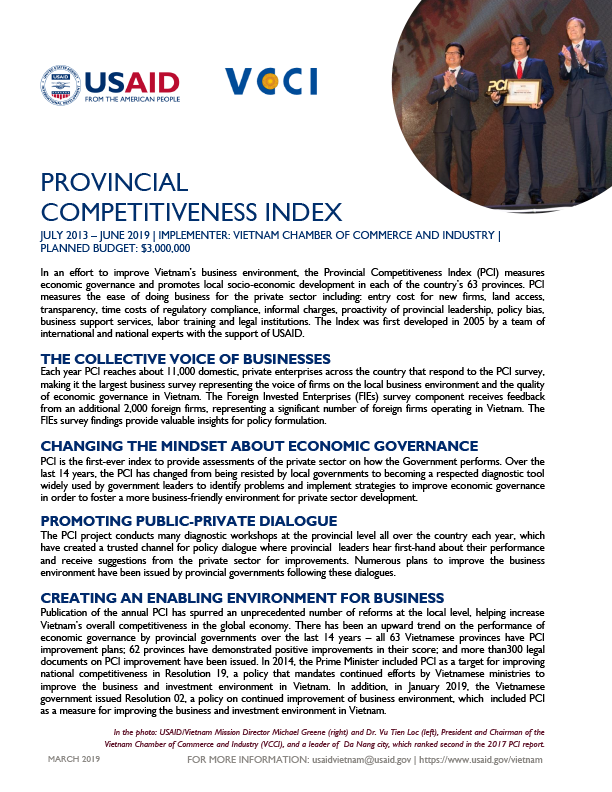Fact Sheet: Provincial Competitiveness Index - March 2019
