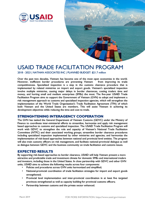 Fact Sheet: USAID Trade Facilitation Program