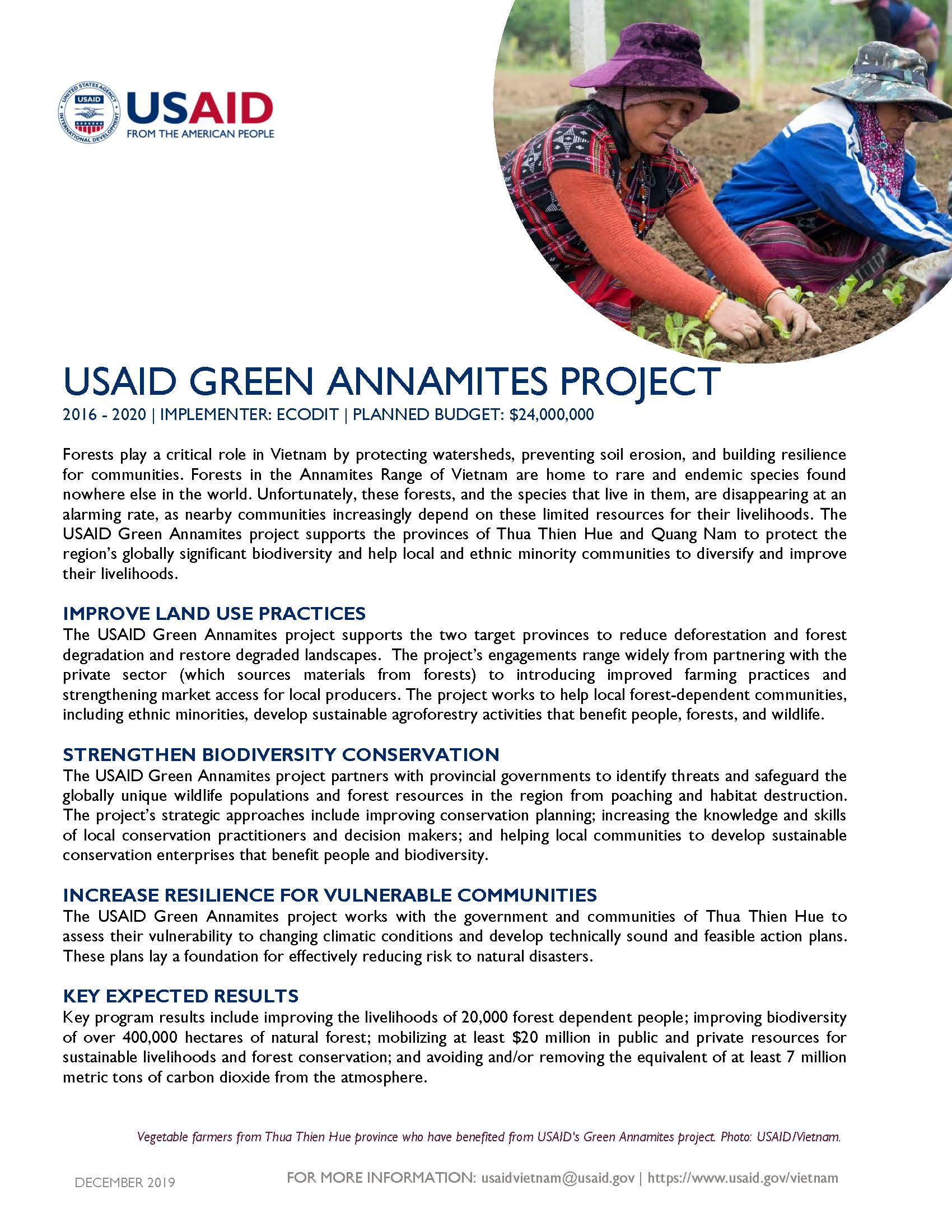 Fact sheet: USAID Green Annamites project
