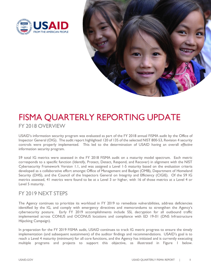 FISMA Quarterly Reporting Update