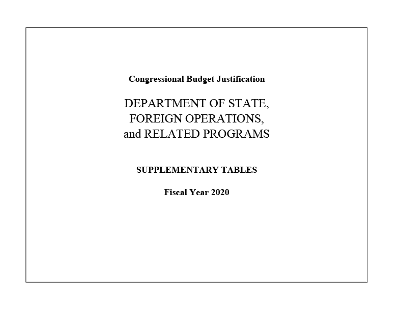 FY2020 Congressional Budget Justification - Supplementary Tables